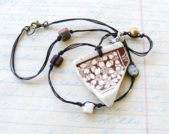 Beach Glass, Pottery Shard Pendant, Broken China Necklace, Ivory and Coffee Brown, Dark Chocolate Irish Waxed Linen Thread, Beaded Woven