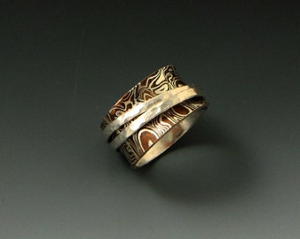 Mokume Gane Spinner/ Worry Ring with Hammered Bands l