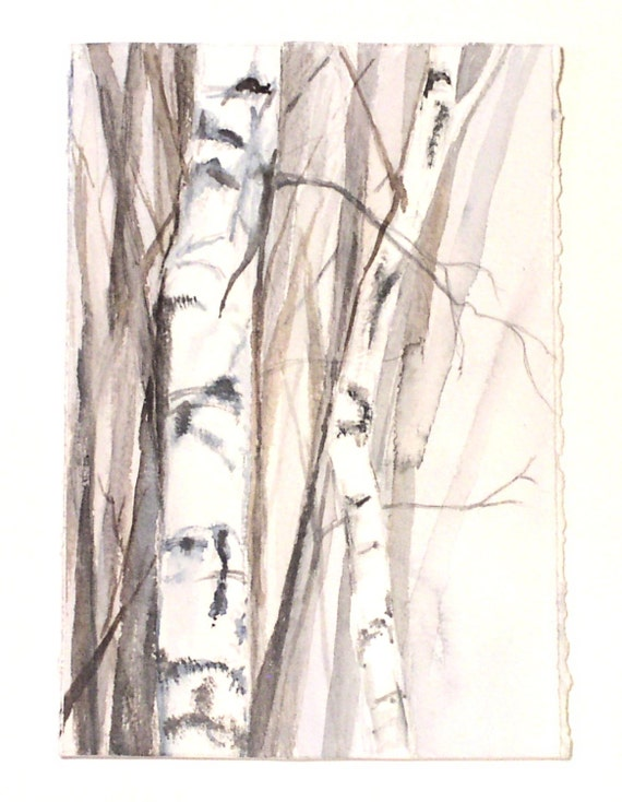 Watercolor Painting woodland winter trees botanical birch