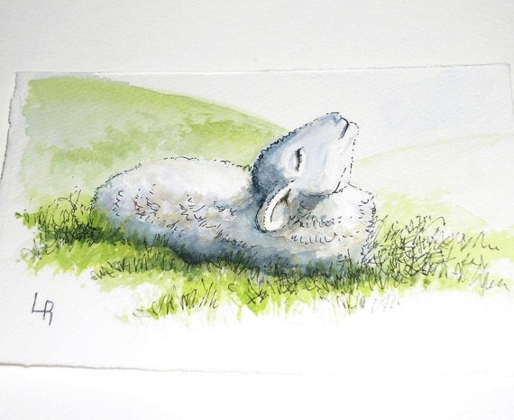 Watercolor Painting Original Artwork Gratitude Lamb Illustration by Laurie Rohner