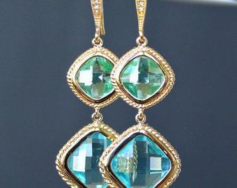 Faceted Diamond Shaped Peridot and Aquamarine Crystal Dangle Earrings in Gold