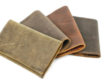 Aged Leather Iphone 5 Case and Wallet Pouch - Distressed Men's Wallet