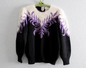 80s Vintage Ladies Christine Sweater, Bold Winter Sweater Metallic Purple and Black Acrylic, Angora Jumper size medium