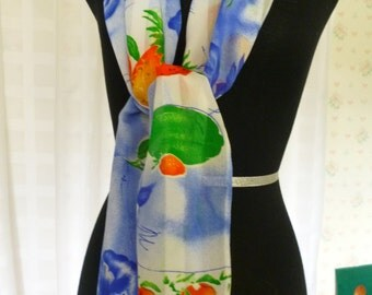 Vintage ID Unlimited Inc. Fruit and Berries Scarf, Colorful, Italy