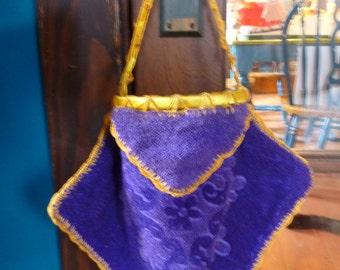 SALE Vintage Bridal Dance Money Bag, Purple and Gold, Repurposed Towel, Hand Made