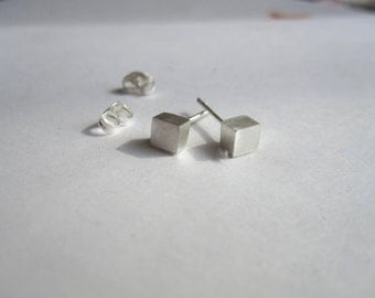 4mm Sterling Silver Square Cube Stud Earrings with sterling silver ear nut 0016