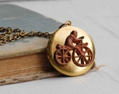 Year of the Monkey BICYCLE Locket Circus Monkey Necklace ZOO Carnival Bike Rider Rustic Monkey Ape BIKE