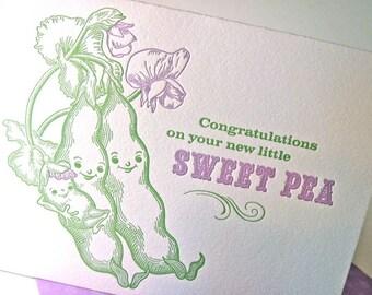 New baby card, sweet pea, letterpress