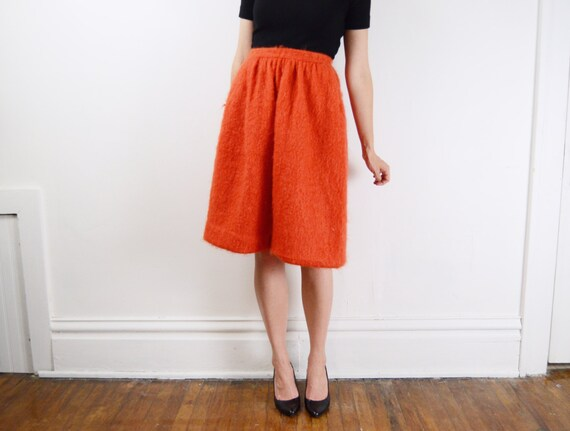 Orange Fuzzy Wool Skirt / 1960s Skirt -XS