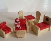 Wooden Toy, 7-piece Dollhouse Living Room, Bedroom, Living Room Natural Doll House Furniture, Kids Gift, Handmade toy, Jacobs Wooden Toys