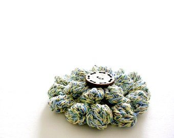Flower Crochet Brooch Pastel Color Brooch Coconut Button
