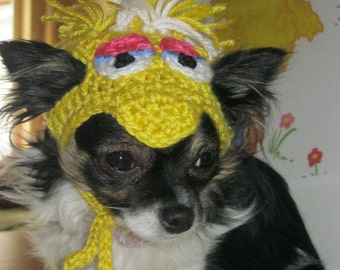 Muppet inspired BIG BIRD dog hat - Humorous - 2 to 20 lb pets - made to order