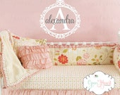 Girls Name Wall Decal with Elegant and Ornate Frame - Shabby Chic Baby Nursery Girl Room Decor 22x22 Circle FN0101