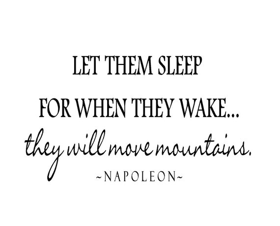 Twin Wall Decal - Let Them Sleep for When They Wake They Will Move Mountains Vinyl Lettering Quote for Room or Baby Nursery 20H X 36W Ba0211