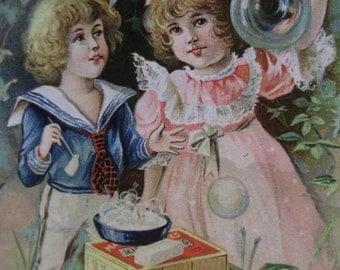 Cute Boy and Girl Blowing Bubbles - Victorian Trade Card - Maple City Soap - 1800's