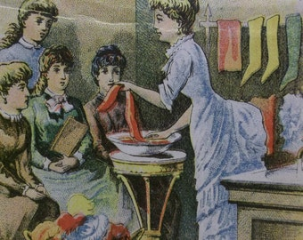 Teacher Giving Class On Dyeing Clothes - Victorian Trade Card - Diamond Dyes - 1800's