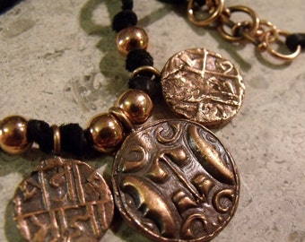 Copper Coin and Leather Necklace - Ancient Coin Replica Piece