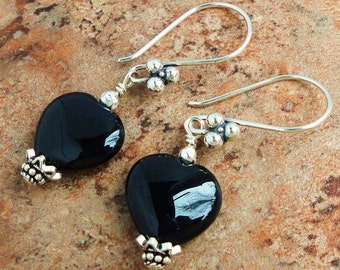 Black Onyx Heart Earrings, Bali Sterling Silver, Gemstone, Handmade, Gift for Women, Mom, Her