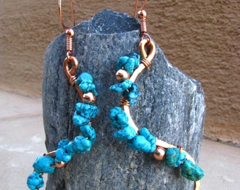 Southwest Fiesta Copper and Turquoise Curves Earrings