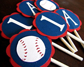 Baseball Party Cupcake Toppers, Baseball Party, Baseball Birthday, Sport Team Party, Sports Shower, Baseball Shower, Baseball, Set of 12