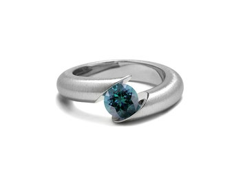 Blue Topaz Tension Set Ring Tapered Mounting in Stainless Steel