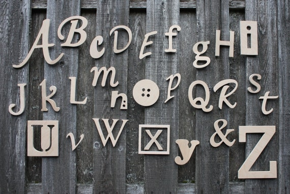 Wooden alphabet letters set unfinished unpainted wood for Abc wooden wall letters