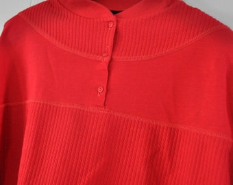 Vintage Longsleeve Knit Sweatshirt Blouse Soft Comfy Red Womens LARGE