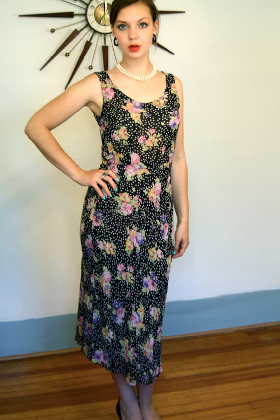 Vintage 90s Long SILK Floral Dress/ Black White Floral Polka Dot/ Sheer Crinkle  Crepe Chiffon Fabric/ Sleeveless Silk Gown/ Cut on the Bias