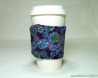 Coffee Sleeve Purple with Abstract Green and Blue Floral Cup Cozy