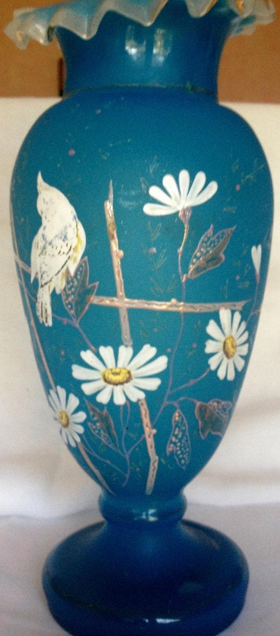Bristol Blue Glass Vase Painted Decoration