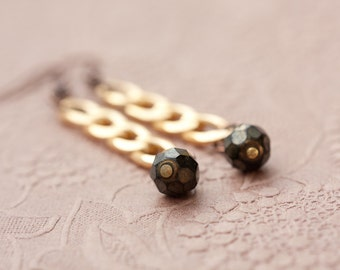 Long Dangle Gold Chain Earrings Vintage Beads Boho Glam black dark copper gold jewelry