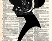 Vintage Dictionary Print - Head full of Stars - Antler Silhouette Antique Book Print - Elegant Surreal Home Decor - Altered Book