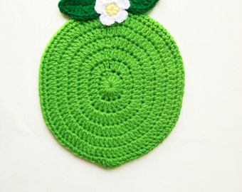 Fruit Potholder Lime Pot holder Hot Pad Trivet with Flower Housewarming gift Kitchen Wall Decor Handmade