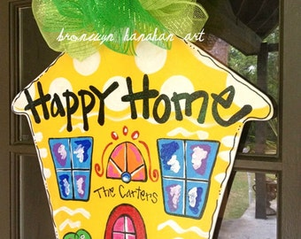 Happy Home Door Hanger - Bronwyn Hanahan Art