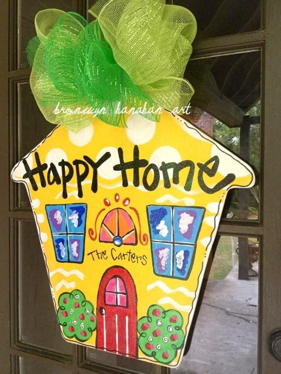 Happy Home Door Hanger - Bronwyn Hanahan Art