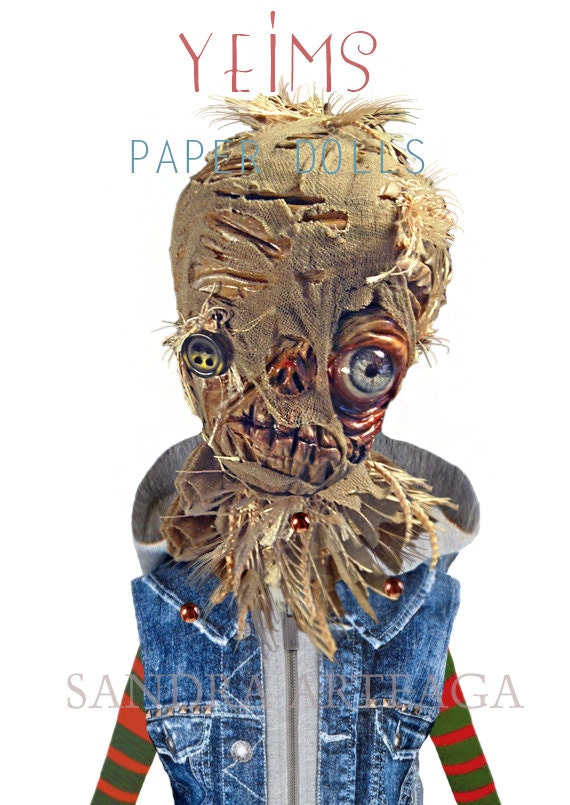 Yeims-  Halloween  scarecrow  articulated Paper Doll - 11.8 inches - paper toy  art doll monsters creature freak horror funny fantasy
