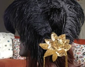 Black and Gold Feather Fascinator with Sequins and Dangling Beads