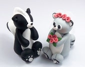 Wedding Cake Topper, Skunk Figurine, Raccoon, Cake Decoration