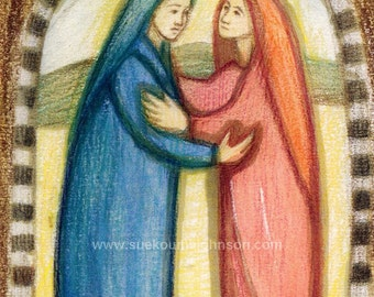 The Visitation of Mary to Elizabeth - Pregnancy -  Childbirth -  Catholic Art Print