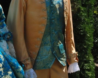 CUSTOM Colonial 18th Century Rococo Mens Frockcoat Evening dress 1700s outfit includes breeches, waistcoat/vest and shirt