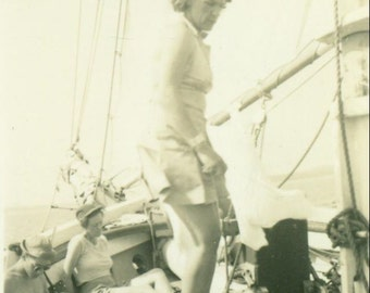 Where To Woman Standing on Deck Sailboat Ship Boat Maine Vintage Photo Black White Photograph