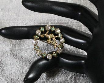 Vintage Brass Enamel and Rhinestone Wreath Pin