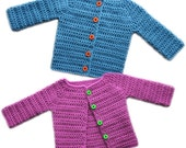 Classic Baby Cardigan Sweater (5 Sizes) - PDF Crochet Pattern - Instant Download