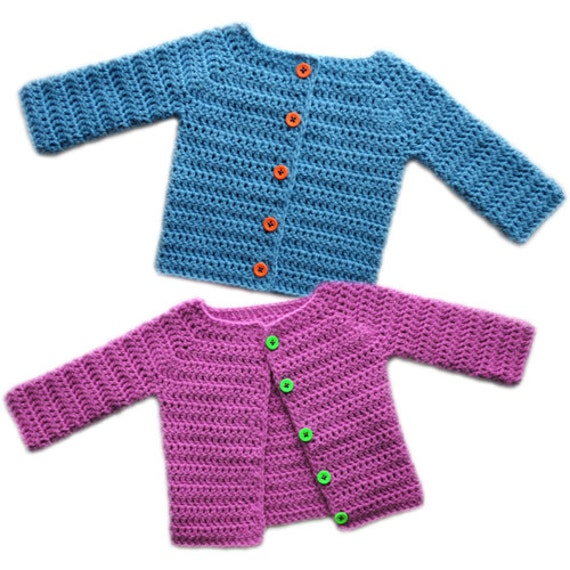 Classic Baby Cardigan Sweater 5 Sizes PDF Crochet Pattern