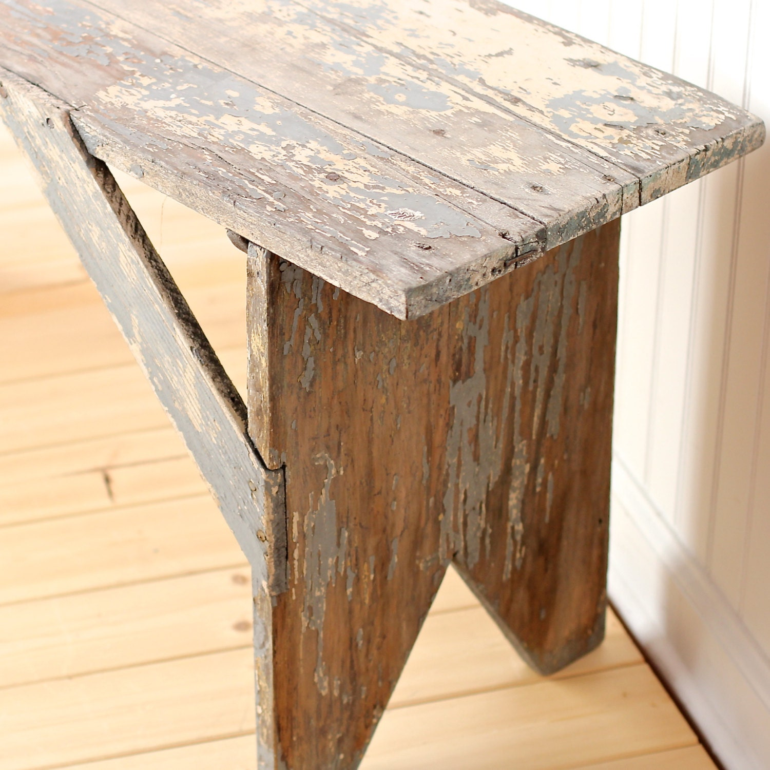 Rustic Vintage Antique Wood Farmhouse Bench or by theNelleHouse