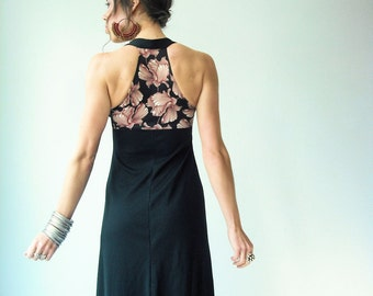 RACERBACK Dress 70's BOHO vtg Black and Mauve Floral T Back Keyhole Bust Maxi Dress