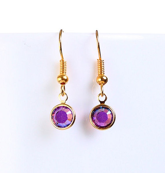 Bridesmaid gift - Petite Amethyst AB purple austrian crystal round gold dangle earrings (698) - Flat rate shipping