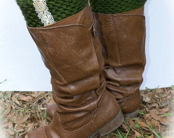 Green Crochet Boot Cuffs with Lace and Button knit legwarmers by creativecowgirl