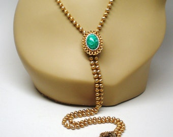 "Vintage Necklace / Choker / Collar / Lariat / Signed Avon Gold 39"" Chain Filigree Emerald Glass Sliding Cabochons Art Deco Retro Statement"