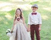 Empire Tutu Dress, Lace Tutu Dress, Ella Flower Girl Dress shown in Champagne and Chocolate, Vintage, Rustic, Classic